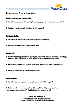 Discovery Questionnaire